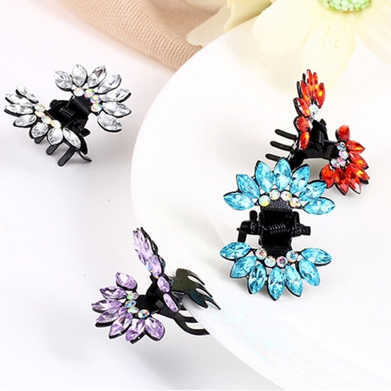 Puppy Bows ~ Feather headdress  tiny jaw clips for tiny dog hair bow pet barrette crystals ~USA seller