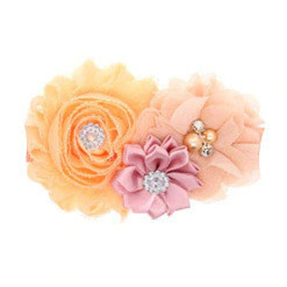 Puppy Bows ~ Dog collar slide bow large dog hair bows dark peach pink light coral  lace and rhinestones ~USA seller (fb162)