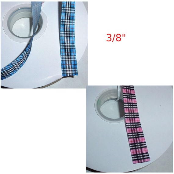 "Puppy Bows ~ ribbon craft supplies  3"", 2"", 1.5"", 1"", 3/4"", 5/8"", 3/8"" red blue pink  Scottish berry  plaid ribbon buy per yard"