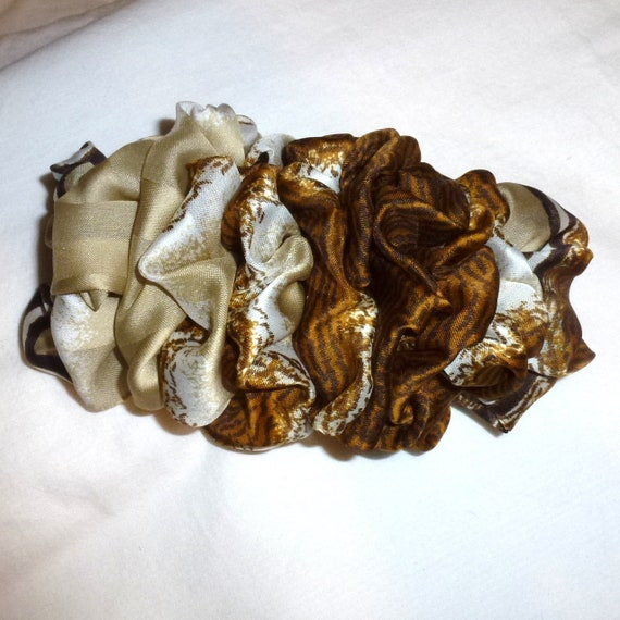 Becky Bows ~  Barrette ribbon Hand crafted over sized  BIG hair bow Women or Girls brown light gold cream