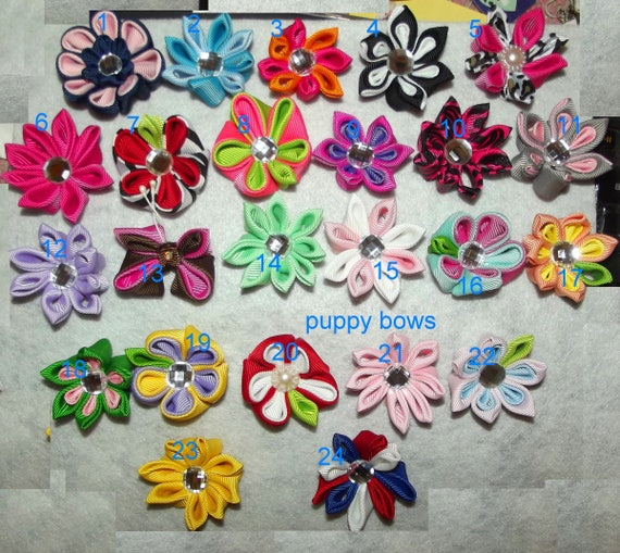 Puppy Bows ~ Hand crafted Japanese kanzashi flowers pet hair barrette or latex bands 20 colors!  (fb77)
