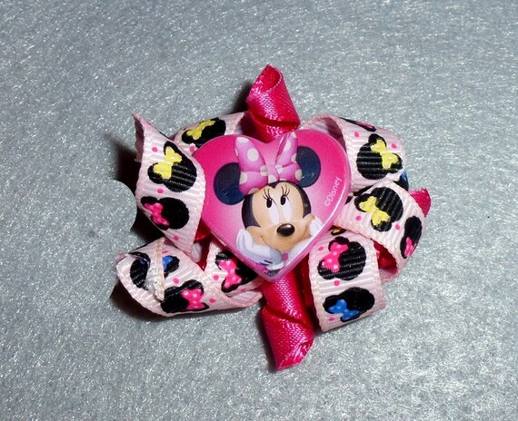 Puppy Bows ~ Minnie Mouse Korker loop  dog bow  pet hair clip barrette or latex bands   (fb83)