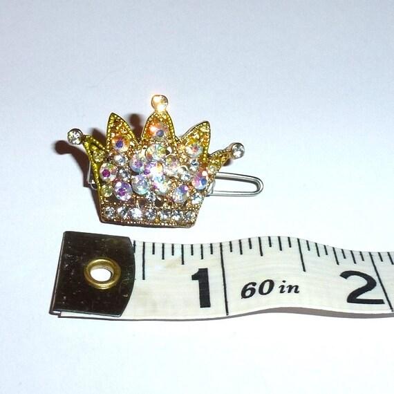 "Dog Bows  flower crystal crown rhinestone  tiny  1"" pet hair barrette clip (TB9)"