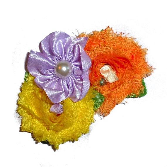 Dog collar flower slide accessory purple yellow orange shabby flowers  (DC11)