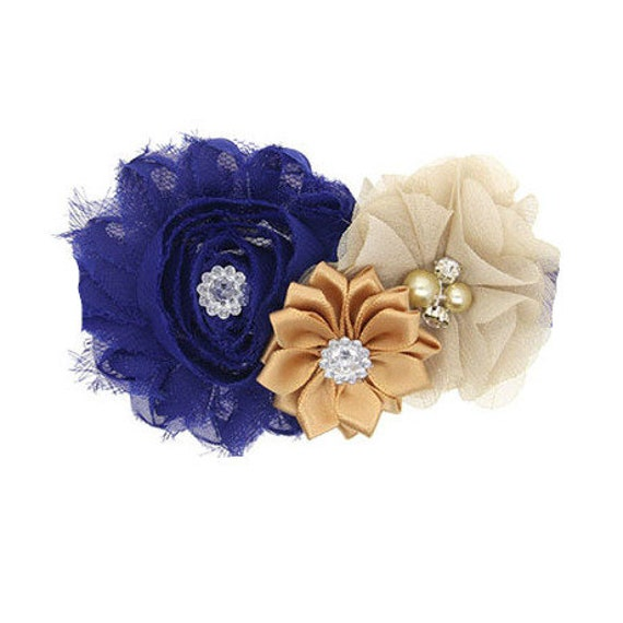 Puppy Bows ~ Dog collar slide bow large dog hair bows royal blue, cream and beige lace and rhinestones ~USA seller (dc8)