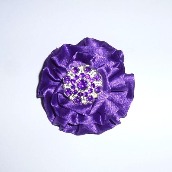 Puppy Bows ~ Dog collar slide flower bow accessory purple rhinestone ~USA seller (fb162)