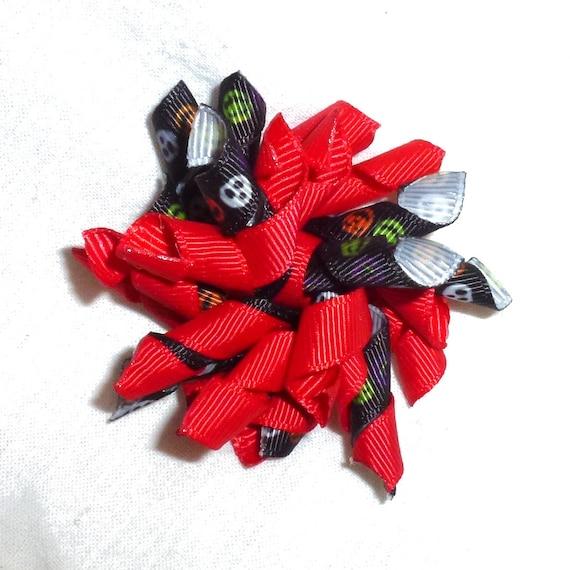 CLEARANCE ~ Red black skulls halloween ghost skeleton  Korker twist pet hair clip  barrette or bands pet dog bow