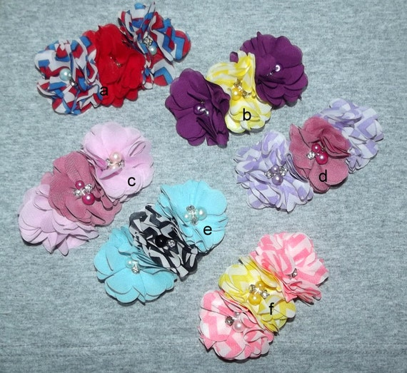 "Puppy Bows ~Big Girl chiffon flowers attached to 3"" french barrette pink blue purple red ~Usa seller  (fb11)"