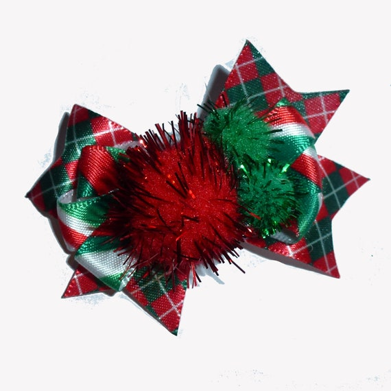 Puppy Bows ~  Christmas pom pom plaid green red latex bands or barrette   (fb78)