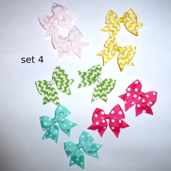 Puppy Bows ~ 10 dog bow for girls - pairs dog grooming pet hair bows - set 4