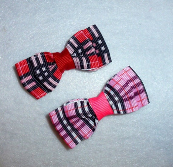 Puppy Bows ~ 2 Pawberry black/gray, red, pink, blue, brown  pet hair bow latex band or barrette ~Usa seller (fb109)