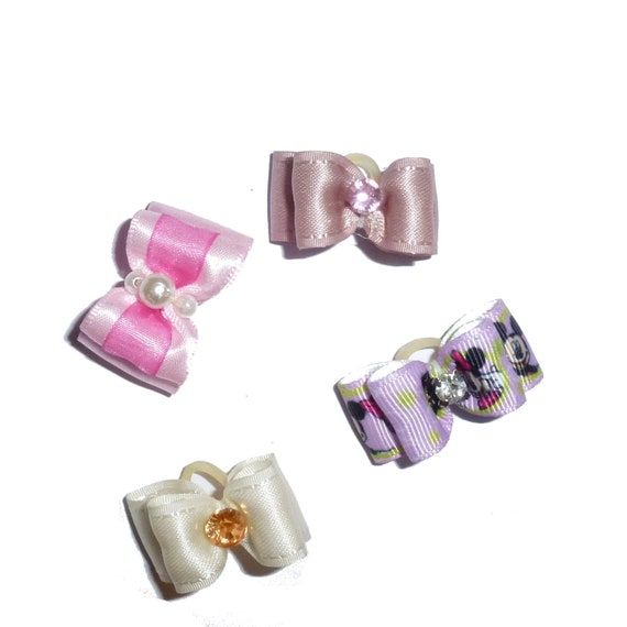 "Puppy Dog Bows ~ 5/8"" satin bowknot SET OF 4! girls pet hair show bow barrettes or bands (saset7)"