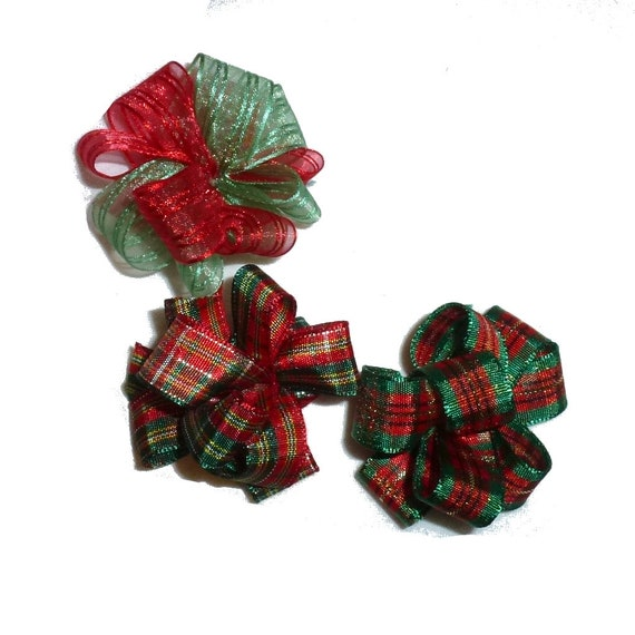 Puppy Bows ~ Party puffs CHRISTMAS dog grooming hair bow latex band red green round bows FREE SHIPPING