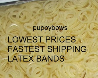 Puppy Bows ~ Latex Dog Grooming Bands ~ SMALL QUANTITY bags  elastic gum rubber dog bows bow TOPKNOT band ~Usa seller