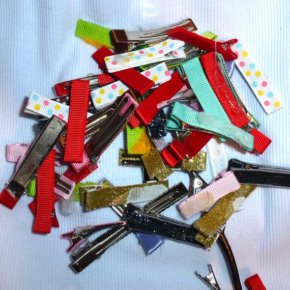 Puppy Bows ~ craft items covered alligator clips assortment lot 35mm-50mm (50 pieces)