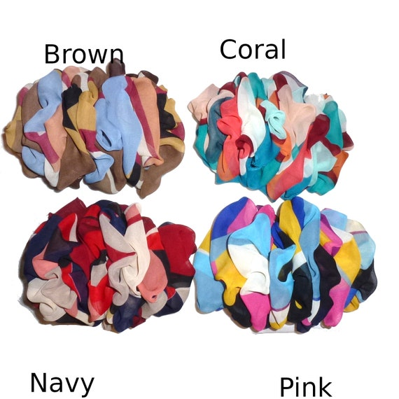Becky Bows ~  Barrette  vintage style XL  jumbo chiffon scarf Hand crafted over sized  BIG hair bow Women color block