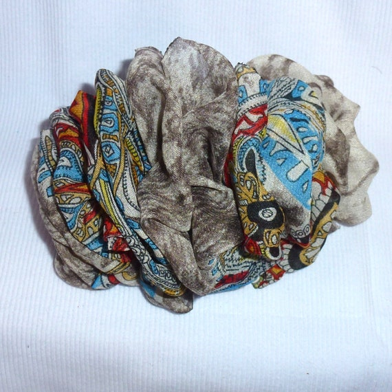 Becky Bows ~  Barrette chiffon Hand crafted over sized  BIG hair bow Women or Girls gray feather paisley