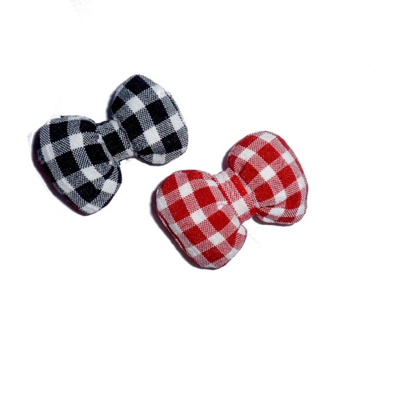 Puppy Bows ~PUFFY red or black gingham dog pet  hair bowknot bow bands or barrette padded (fb112)~USA seller