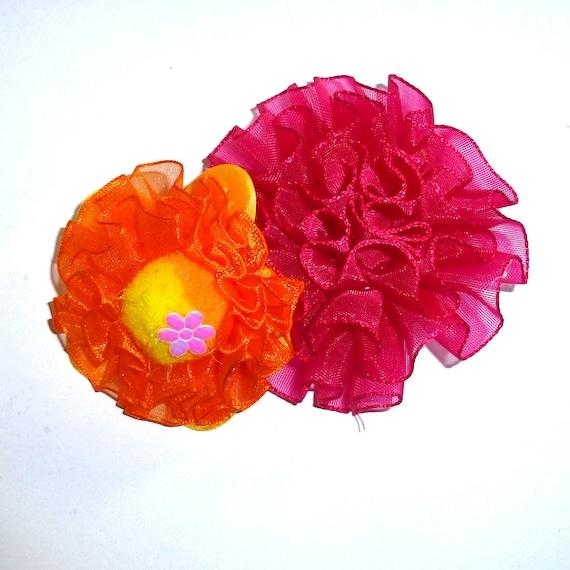 Puppy Bows ~ Dog collar slide bow large dog hair bows vibrant magenta orange yellow ruffled flower ~USA seller (dc10)