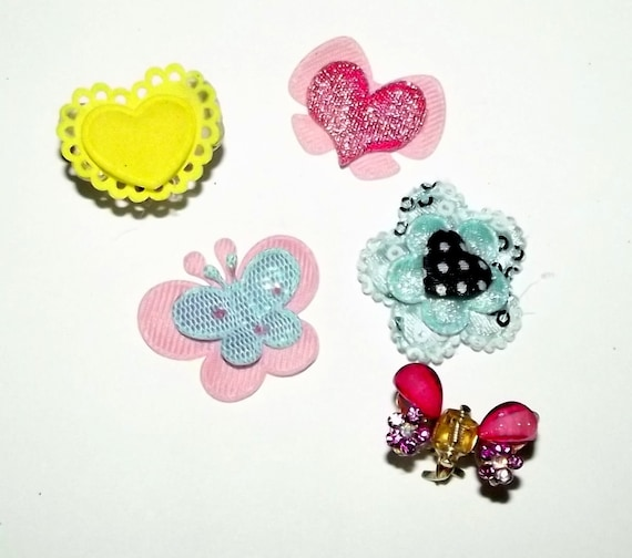 Puppy Bows ~Set of 5 small jaw clip barrette for dog hair PINK  ~USA seller