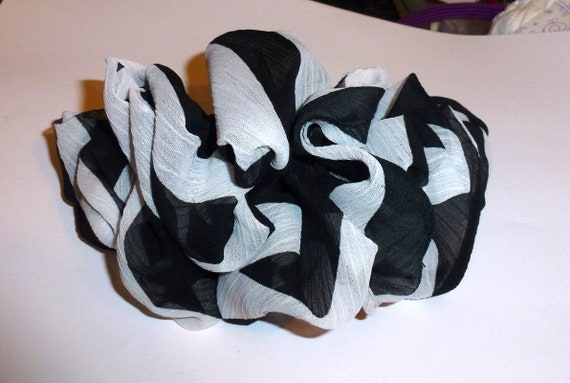 Becky Bows ~  Oversized hair bows for women Beautiful big adult bow for ladies black white stripes