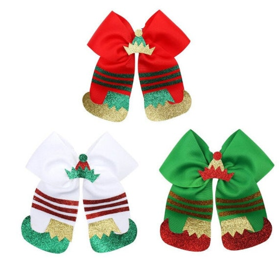 Puppy Bows ~ Merry Christmas giant dog collar slide bow party elf (DC5)