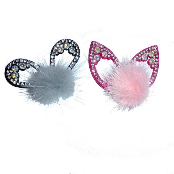 Puppy Bows ~ fur ball puff cat or rabbit ears pet hair barrette clip