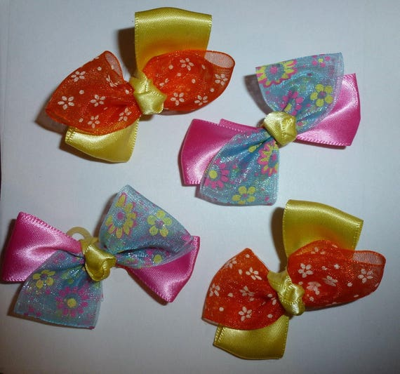 Puppy Bows ~ 4 pink/yellow/orange floral pet hair bow latex band ~Usa seller (fb92)