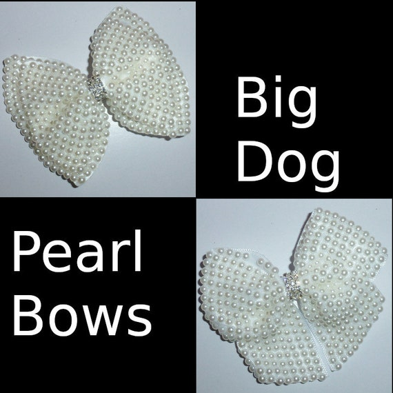 "Puppy Bows ~Standard Poodle Golden Retriever big dog 3.5"" pearl dog pet  hair bowknot bow bands or barrette  (fb115)~USA seller"