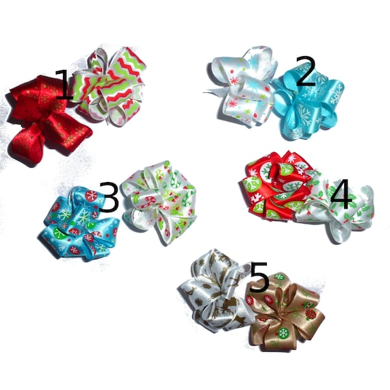 Puppy Bows ~ Satin Christmas party puffs set of 2 reindeer dog pet  hair bowknot bow bands or barrette or collar slide ~USA seller