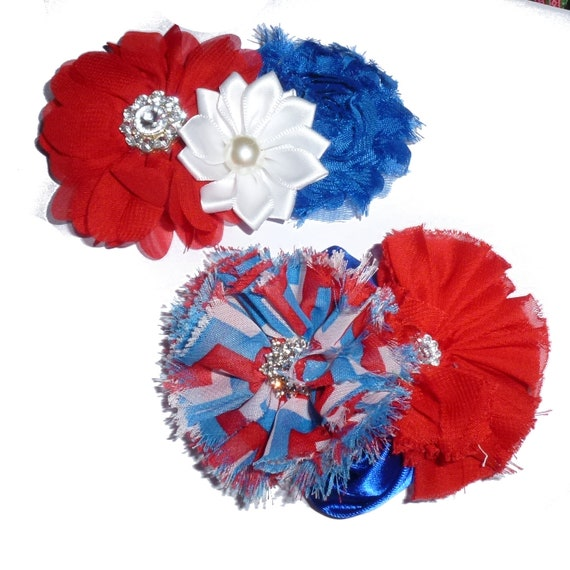 Puppy Bows ~ Large dog bow 4th of July patriotic red/white/blue dog collar slide accessory  ~USA seller (fb162)