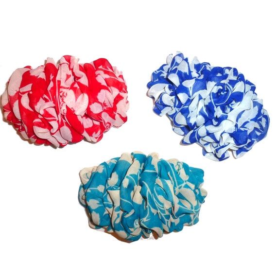 Becky Bows ~  Barrette  chiffon large vintage style scarf Hand crafted over sized  BIG hair bow Women red blue turquoise