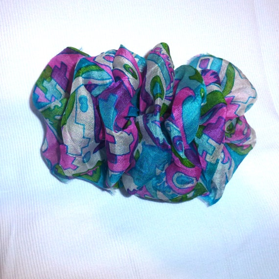 Becky Bows ~ OOAK ladies  Hand crafted SILK shabby chic  BIG fashion hair bow Women or Girls giant fuchsia blue