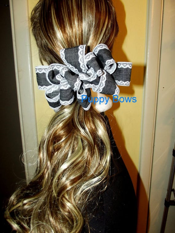 Becky Bows ~ Barrette  huge BIG hair bow Women or Girls large black denim lace trim ladies