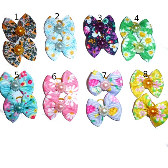 Puppy bows pretty daisy pearls pairs dog hair bow latex bands or barrette  (fb91)