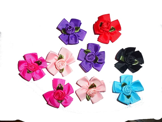 Puppy Dog Bows ~ Fun rose  flowers pet hair bow barrettes or bands 6 colors!  (fb44)