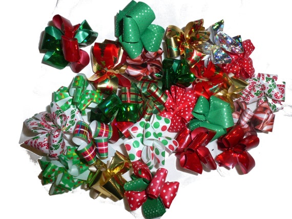 Puppy Bows ~ Party puffs Christmas fancy dog grooming hair bow latex band  round bows