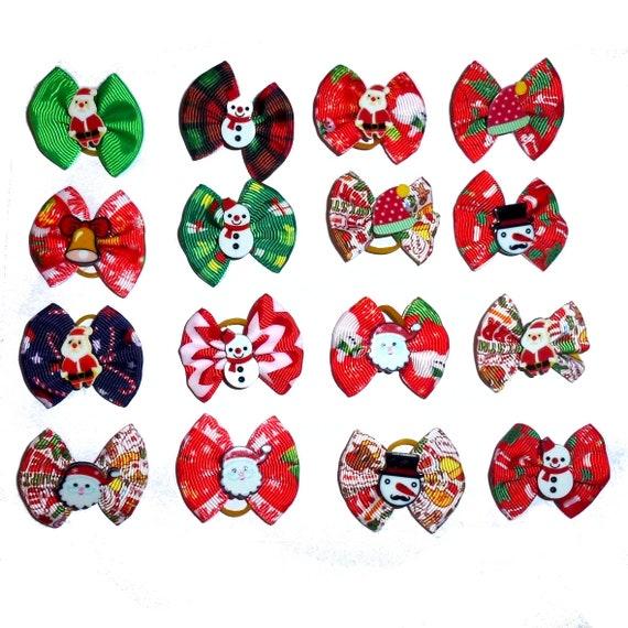 Christmas snowman santa claus bells  everyday dog groomers grooming pet hair bows (fb193)