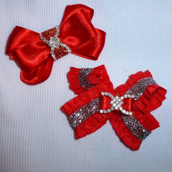 Puppy Bows ~Red silver gold  dog pet  hair bowknot bow bands or barrette  (fb116)~USA seller