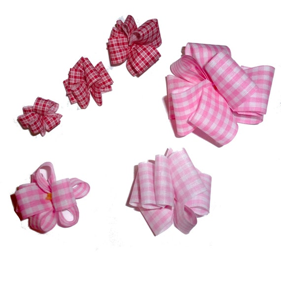 Puppy Bows ~ Red or pink gingham check plaid Party puffs dog groomer hair bows or collar bows