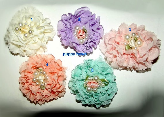Puppy Bows ~ Shabby chic chiffon carnation flowers 5 colors grooming bow pet hair barrette  (fb66)