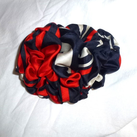 Becky Bows ~  Barrette  chiffon large vintage style scarf Hand crafted over sized  BIG hair bow red navy