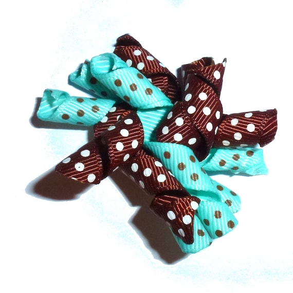 Puppy Dog Bows ~ Chocolate brown turquoise dots korker bow for boys barrettes or bands