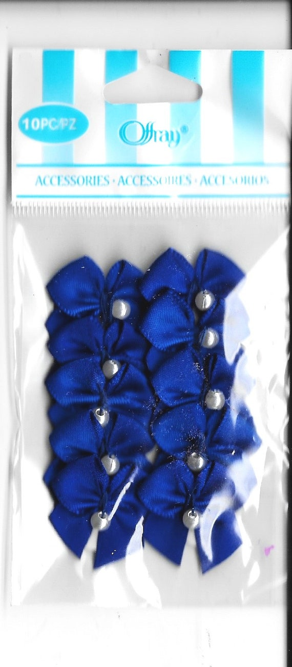 Puppy Bows craft items ~  10 royal blue bows with pearl adhesive sticker embellishments  ribbon rose flower appliques