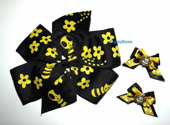 Puppy Bows ~ CLEARANCE SALE 50% OFF Extra large collar bow and matching topknot or ear dog grooming hair bow  bumblebees ~