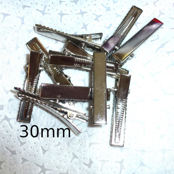 Craft items dog bow making supplies 30mm  hair DIY silver flat top alligator metal clip rectangle