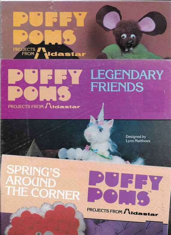 Craft supplies Puffy Poms pom pom craft booklet patterns 3 books unicorn mice dragon