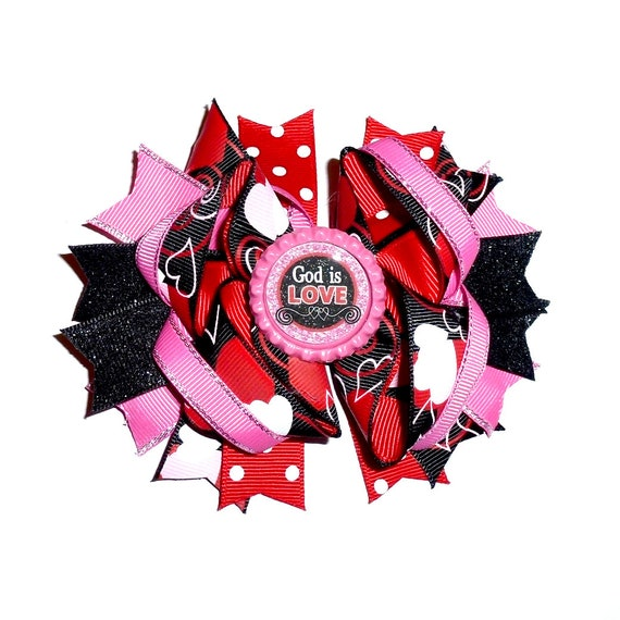 Puppy Bows ~ Dog collar slide bow Valentine's day red black swirls God is Love heart accessory  (DC12)