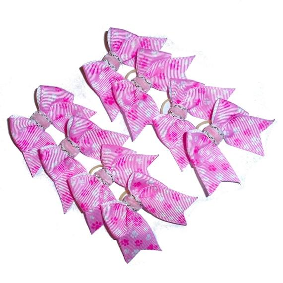 8 pink white paw print dog hair bows latex band  ~Usa seller (fb237)