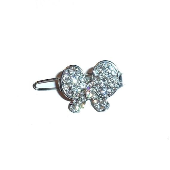 "Dog Bows silver crystal butterfly rhinestone Super tiny  3/4"" pet hair barrette clip (TB16)"